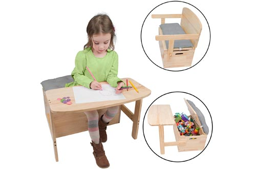 Wooden Desk and Chair Set w/Toy Box Storage