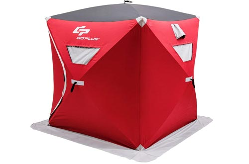 Goplus Portable Ice Shelter Pop-up Ice Fishing Tent Shanty