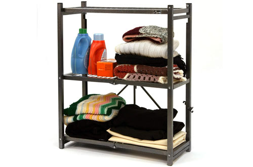 Foldable 3-Shelf Storage Rack with Wheels