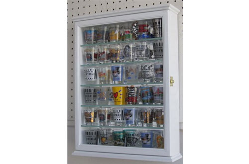 Shot Glass Display Case Wall Curio Cabinet, Glass Door