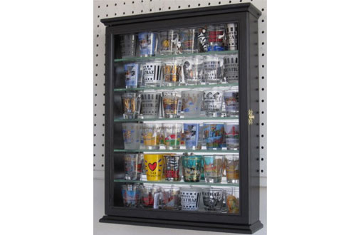 Shot glass display case cabinet holder rack shadow box