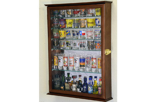 Large Mirror Backed and 7 Glass Shelves Shot Glasses Display Case