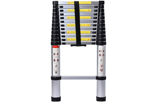 GOOD LIFE 12.5FT Telescopic EN131 Professional Folding Aluminum Multi Purpose Telescoping Ladder