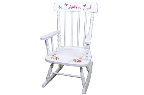 Children's Personalized White Bright Butterfly Toddler Rocking Chairs