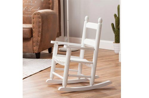 Rocking Kid's Chair Children's Wooden Toddler Patio Rocker Classic KD-20W White - Indoor/Outdoor