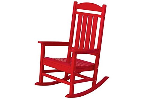 POLYWOOD R100SR Presidential Outdoor Rocking Chair, Sunset Red