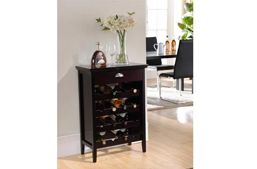 Kings Brand Furniture Wood Buffet Wine Rack Cabinet with Drawer, Dark Cherry