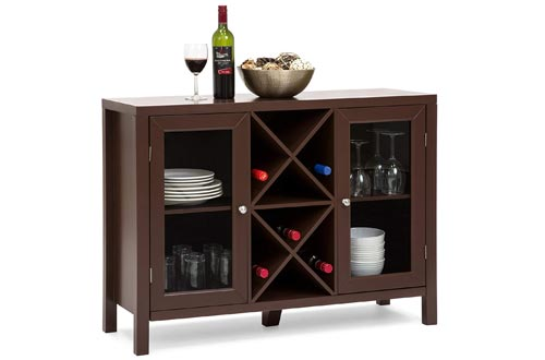 Best Choice Products Wooden Wine Rack Console Sideboard Table w/Storage (Cherry)