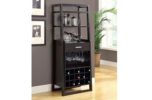 "Monarch Specialties I 2543, Home Bar, Ladder Style, Cappuccino, 60"" H"