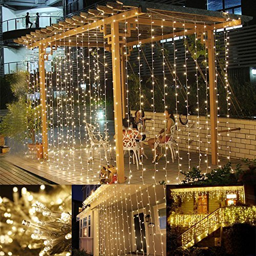 306 LED Window Curtain String Light for Christmas Decoration, Wedding Party and Home Gardening
