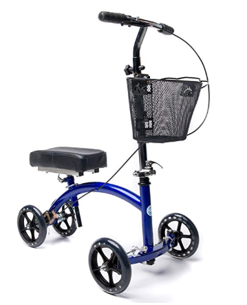 KneeRover Deluxe Steerable Knee Cycle Knee Walker Scooter Crutch Alternative in Blue