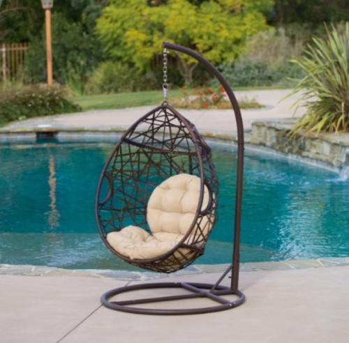 Outdoor Brown Wicker Tear Drop Hanging Chair