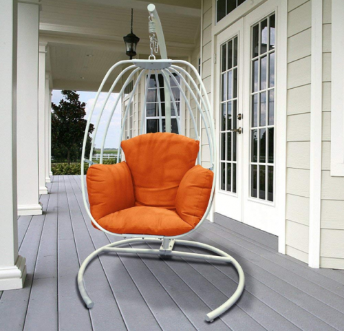 ART TO REAL Egg Shaped Hanging Swing Chair with C Stand