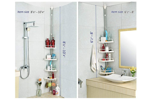 Bathroom Constant Tension Corner Shower Caddy Pole