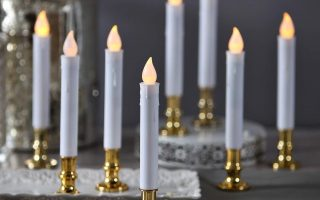 LampLust Flameless White LED Taper Candles with Gold Removable Candle Holders, The Best Christmas Window Candle