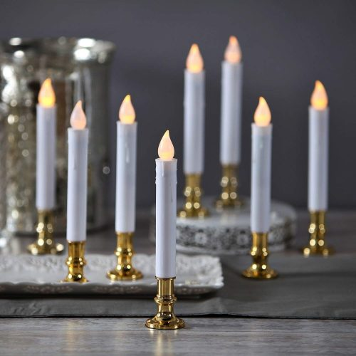 LampLust Flameless White LED Taper Candles with Gold Removable Candle Holders, The Best Electric Candles for Christmas