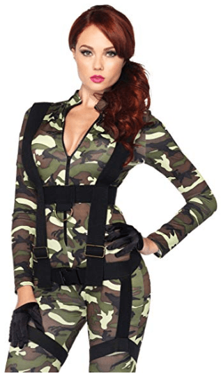 Leg Avenue Pretty Paratrooper Zipper Front Camo Jumpsuit and Body Harness