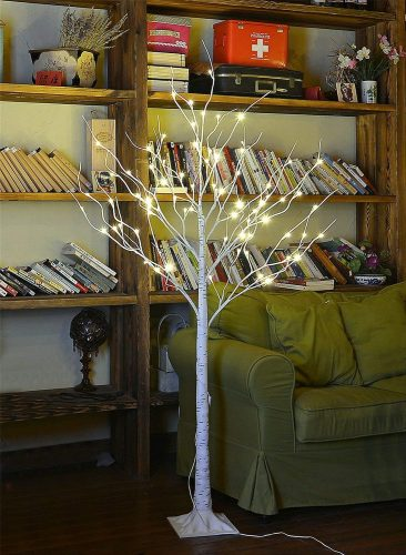 Lightshare 4 Feet Birch Tree, a Durable Design LED Blossom Trees for Christmas