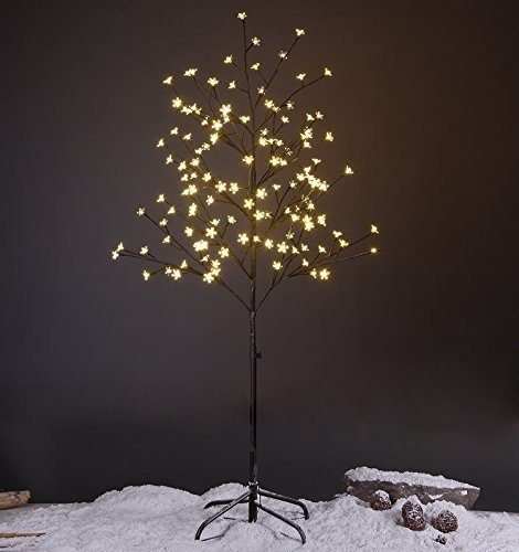 Lightshare 5FT LED Star Light Tree for Christmas, Warm Light, Brown