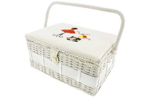 Vintage Sewing Basket Organizer Box Kit with Hand Sewing Supplies