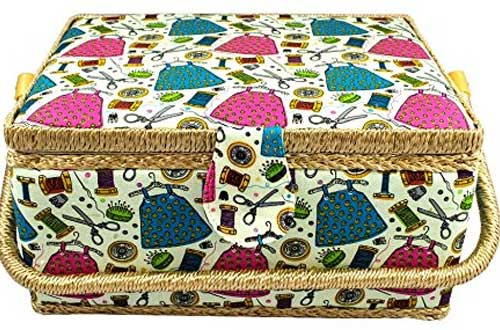 Large Fabric Covered Sewing Basket