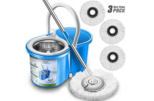 Aootek Upgraded Stainless Steel Deluxe 360 Spin Mop & Bucket
