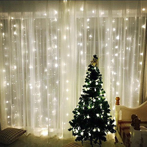 Twinkle Star Window Curtain String Light 300 LEDs, Ideal Christmas Lights for Window