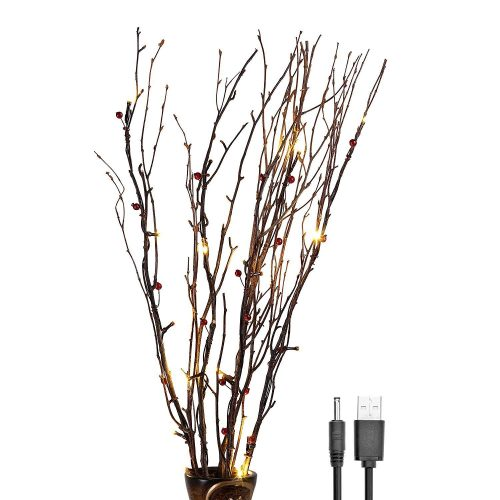 Lightshare 30Inch 20LED Natural Birch Berry Branch Light, Red Berries, Warm White Light,Battery Powered for Home Decoration