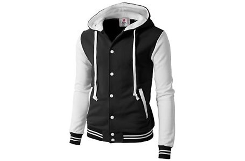 H2H Mens Fashion Slim Fit Varsity Baseball Bomber Jacket Hoodie Cotton