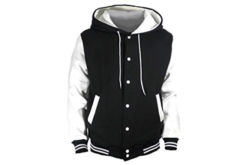 U World Men's Hood Baseball Varsity Jacket White