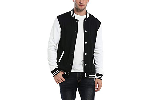 COOFANDY Mens Slim Fit Varsity Baseball Jacket Bomber Cotton