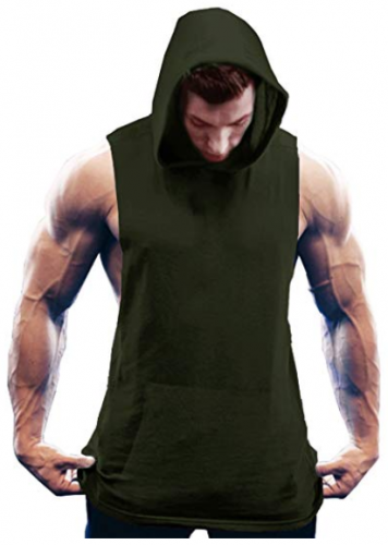 COOFANDY Men's Workout Hooded Tank Tops Bodybuilding Muscle T Shirt Sleeveless Gym Hoodies