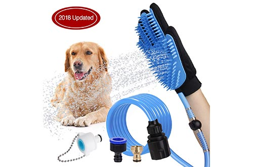 WOWGO 2019 NEWEST Pet Bathing Tool Dog Showers Sprayer Scrubber Grooming Glove