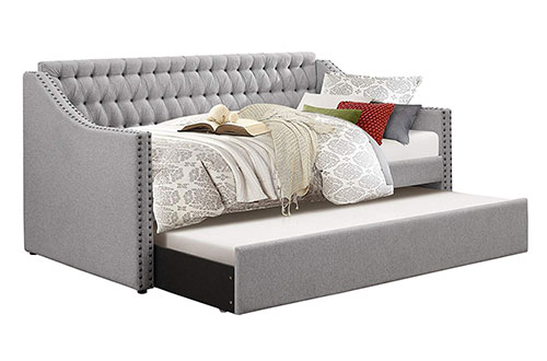 Homelegance Sleigh Full-Size Daybeds with Tufted Back Rest and Nail Head Accent, Twin, Grey