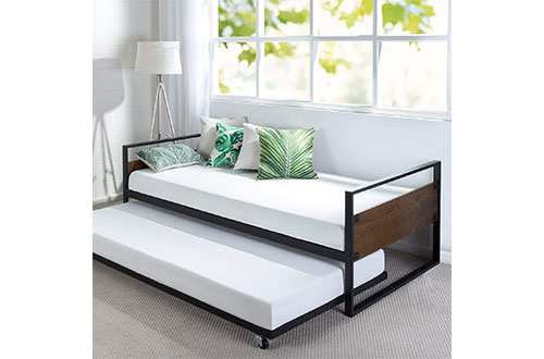 Zinus Ironline Twin Daybed and Trundle Frame Set/Premium Steel Slat Support/Full-Size Daybeds and Roll Out Trundle Accommodate