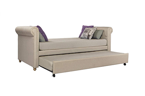 DHP Sophia Upholstered Full-Size Daybeds and Trundle, Classic Design, Twin Size, Tan
