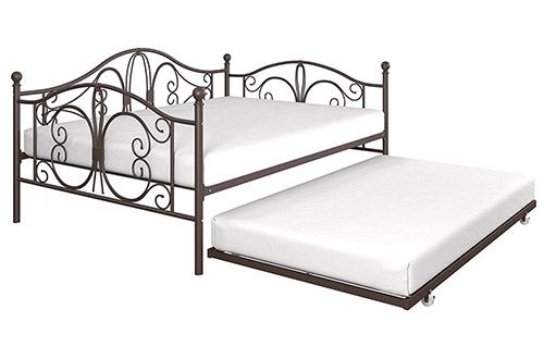 DHP Bombay Full-Size Metal Daybeds Frame with Twin-Size Trundle Bed Frame, Bronze