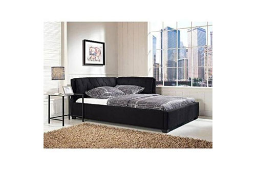 Tufted Reversible Sofa Lounge Daybed Couch Full-Size Daybeds Corner Black by D&H