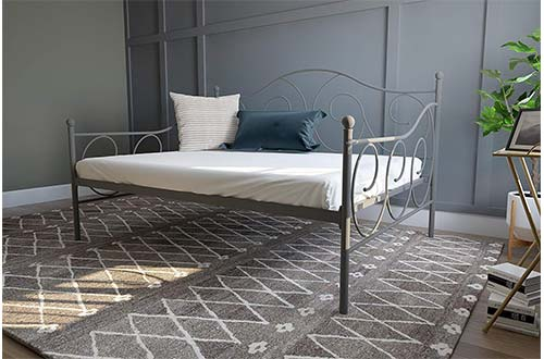 DHP Victoria Daybed Metal Frame, Multifunctional, Includes Metal Slats, Full-Size Daybeds, Pewter
