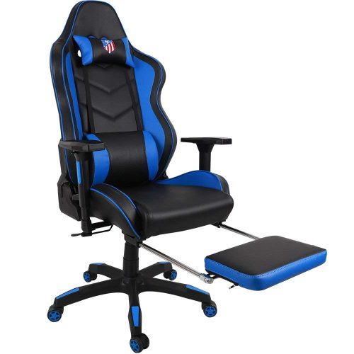 Kinsal Ergonomic High-back Large Size Gaming Chair, Office Desk Chair Swivel Blue PC Gaming Chair with Extra Soft Headrest, Massage Lumbar Support