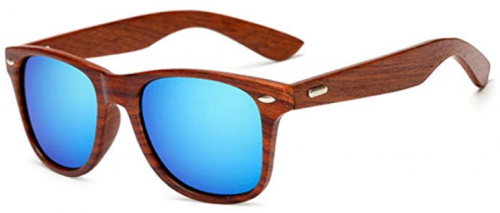 LongKeeper Wood Sunglasses for Men Women Vintage Real Wooden Arms Glasses