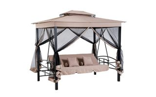 Outsunny 3 Person Outdoor Patio Daybed Canopy Gazebo Swing with Mesh Walls, Porch Swing Beds