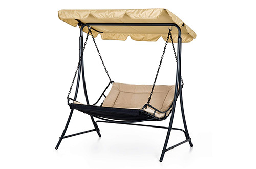 Outsunny Covered Hanging Outdoor Patio Swing Hammock Chair Bed Lounger Canopy, Porch Swing Beds