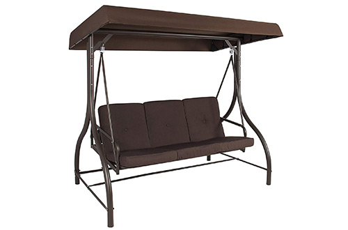 Converting Outdoor Swing Canopy Hammock Seats 3 Patio Deck Furniture, Brown, Porch Swing Beds