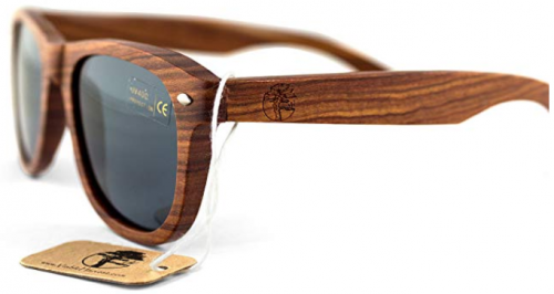 Real Solid Handmade Wooden Sunglasses for Men, Polarized Lenses with Gift Box-TOP 10 BEST WOODEN SUNGLASSES IN 2019 REVIEWS