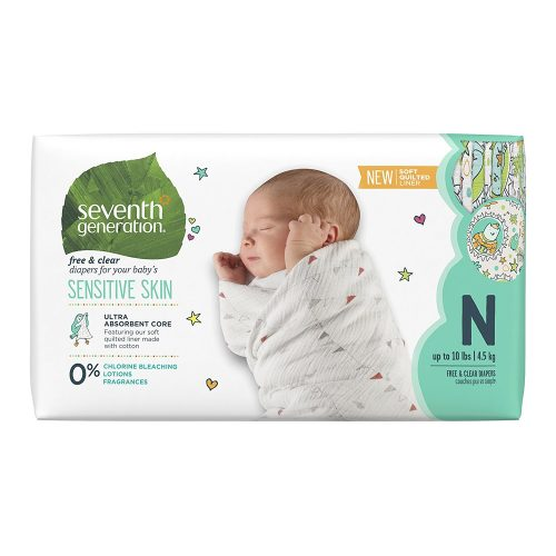Seventh Generation Baby Diapers, Free & Clear for Sensitive Skin with Animal Prints, Newborn, 144 count (Packaging May Vary)-Top 10 Best Baby Diapers in 2018 Reviews