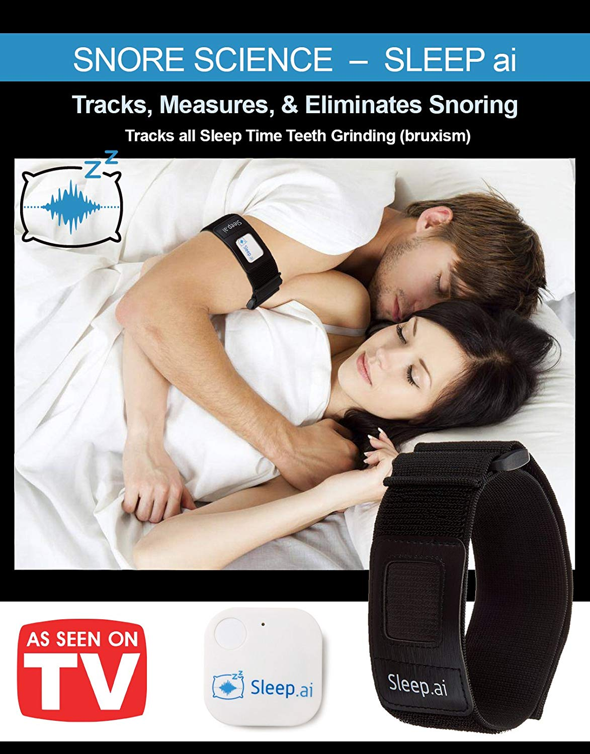 Sleep AI Snoring Solution - Voted BEST Anti Snore Device - Replaces Mouth Guards Mouthpiece Chin Strap Nose Strips and Vents - Natural Sleep Aid-TOP 10 BEST ANTI-SNORING DEVICES IN 2018 REVIEWS