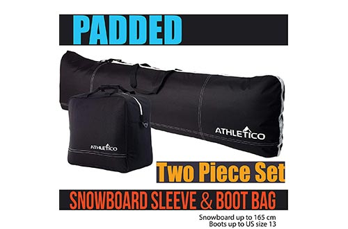 Athletico Padded Two-Piece Snowboard and Boot Bag Combo | Store & Transport Snowboard Bags