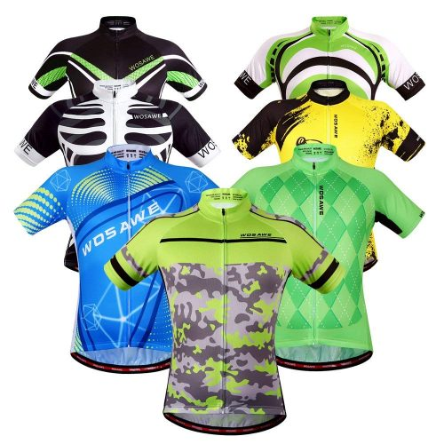 WOSAWE Mens Breathable Cycling Jersey 4D Padded Breathable Quick Dry