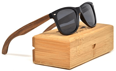 Walnut Wood Wayfarer Sunglasses For Men & Women with Polarized Lenses with Wood Box GOWOOD